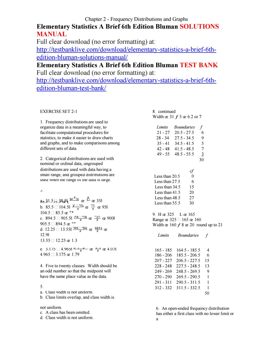 Elementary statistics a brief 6th edition bluman solutions manual by  asdfg111 - issuu