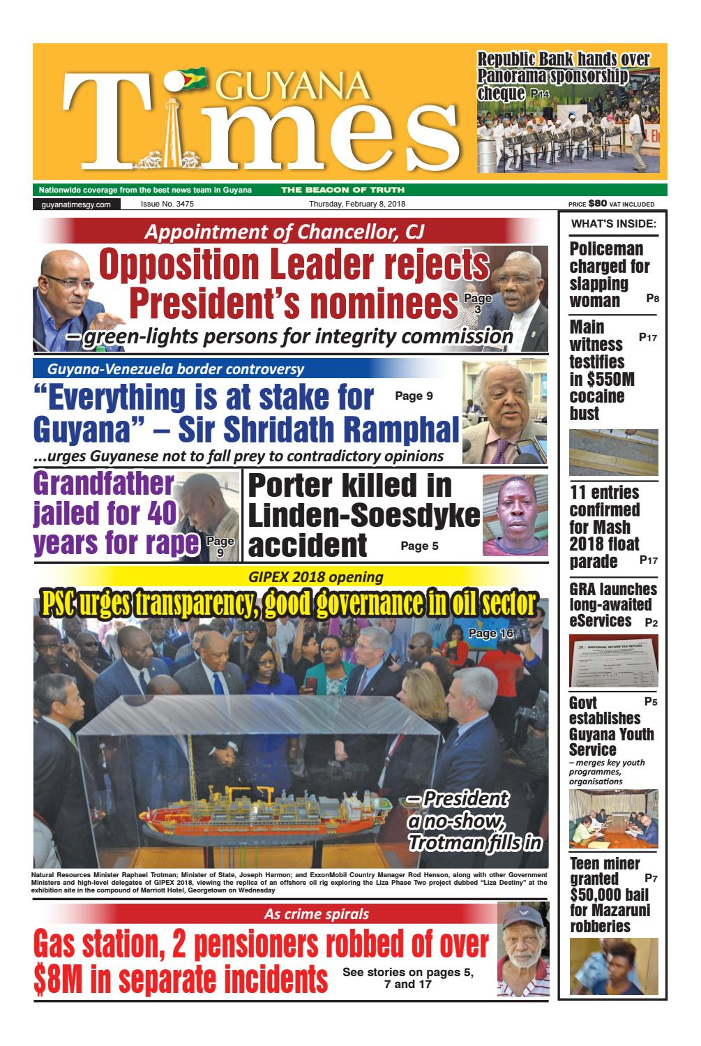 Guyanatimes 8 february 2018 by Gytimes - issuu