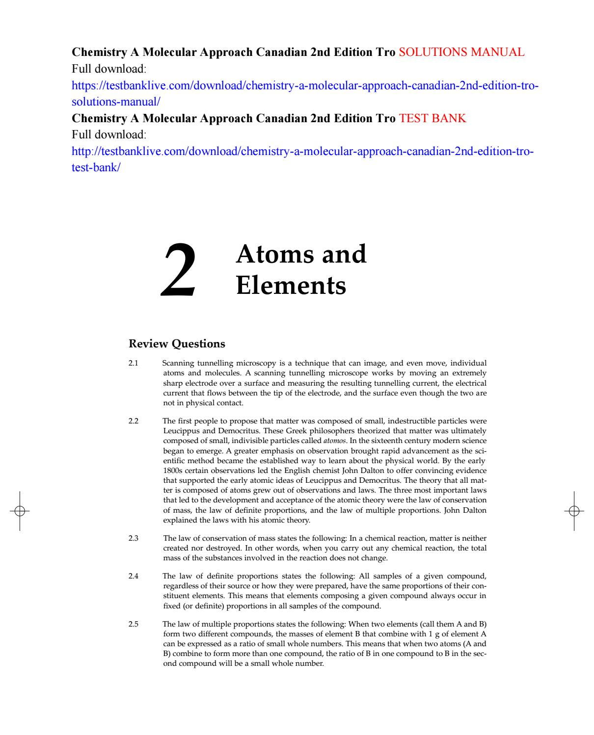 Chemistry a molecular approach canadian 2nd edition tro solutions manual by  Geosciences - issuu