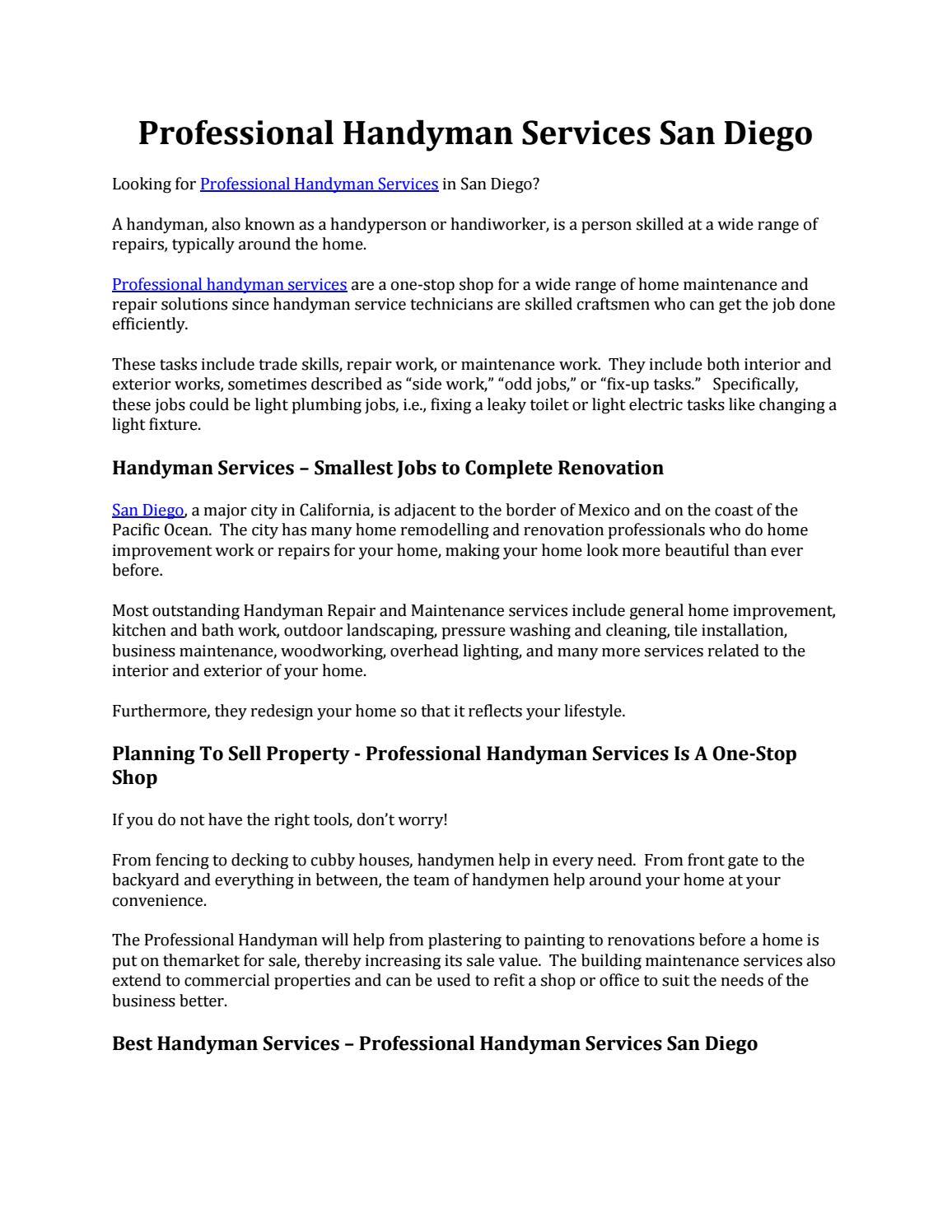 Professional handyman services san diego by Reno Merica - issuu