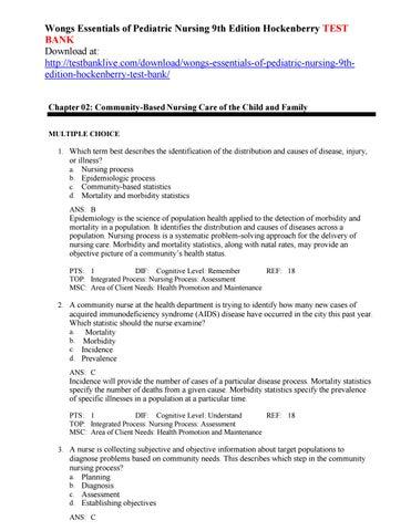 pdf. wongs pediatric test bank