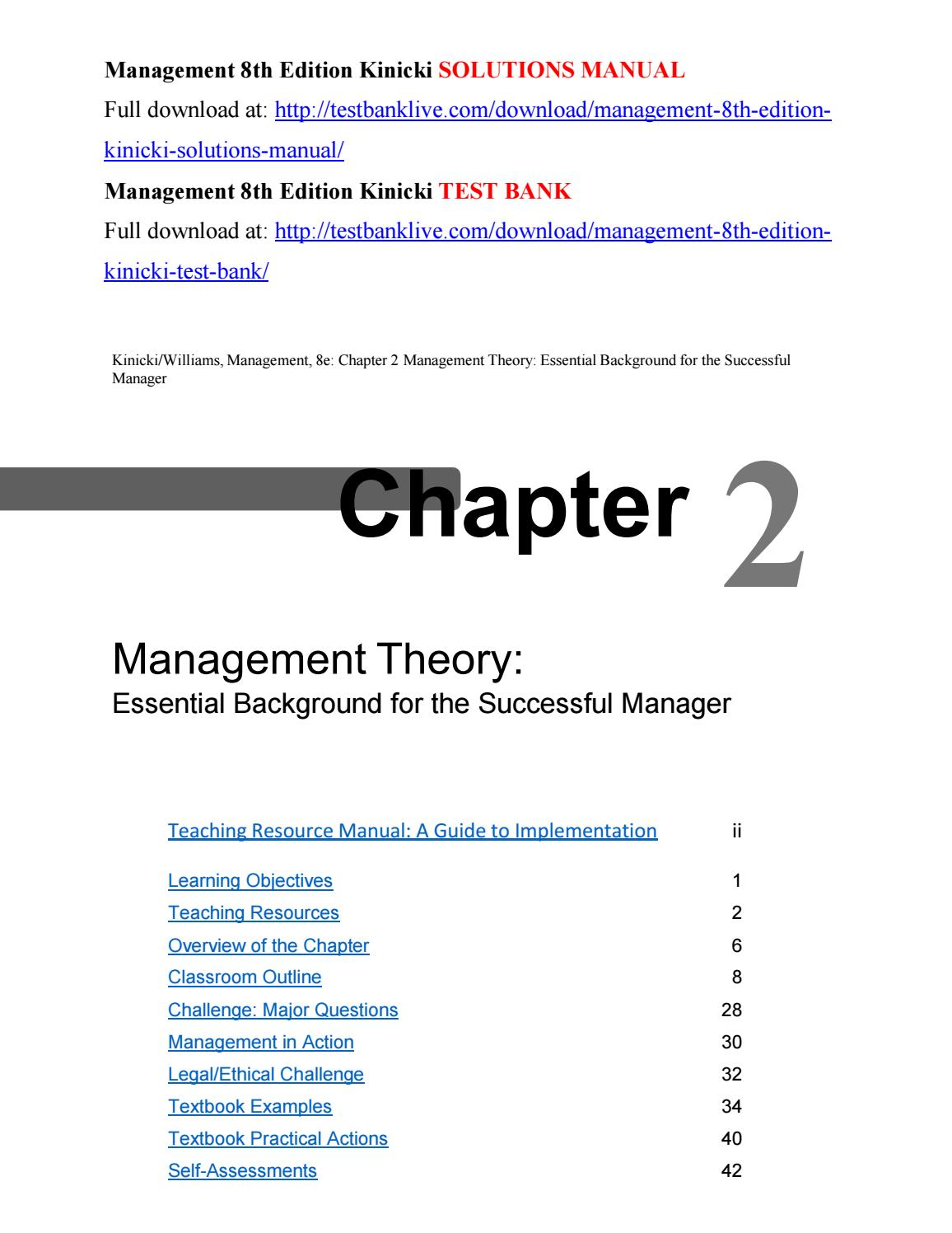 Management 8th Edition Kinicki Solutions Manual By Lothura Issuu