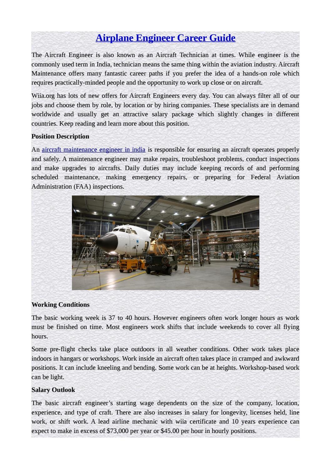 Airplane Engineer Career Guide By Wiiia Org Issuu