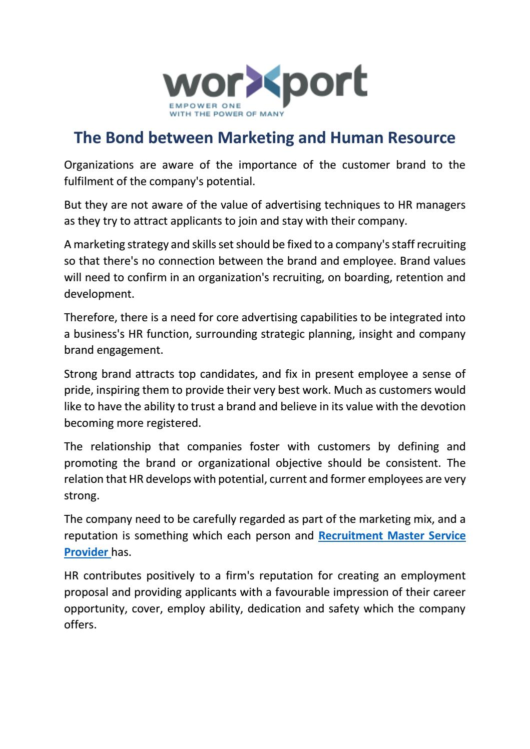 The bond between marketing and human resource by worxport