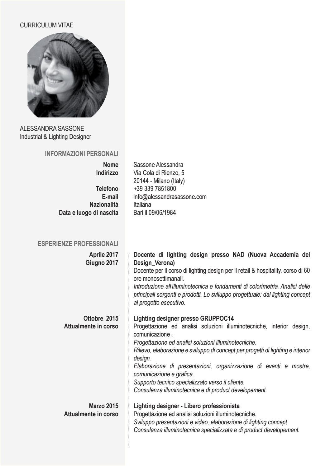 Nuova Accademia Del Design cv alessandra sassone ita eng by alessandra sassone - issuu