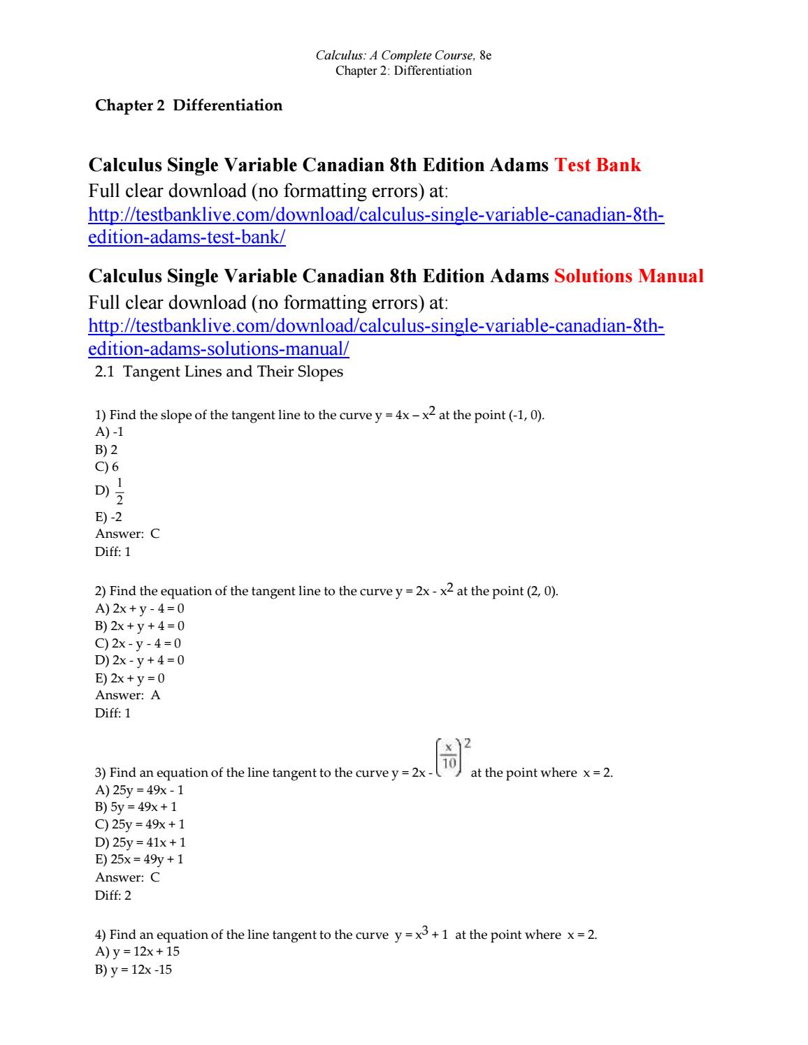 Calculus single variable canadian 8th edition adams test bank by