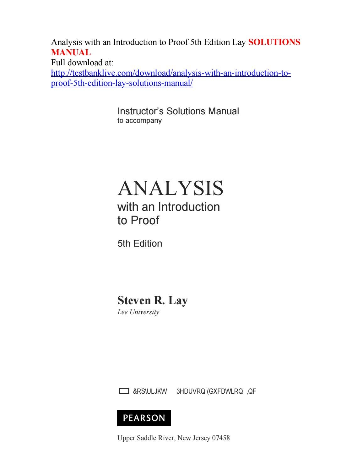 Analysis with an introduction to proof 5th edition lay solutions manual by  juns - issuu