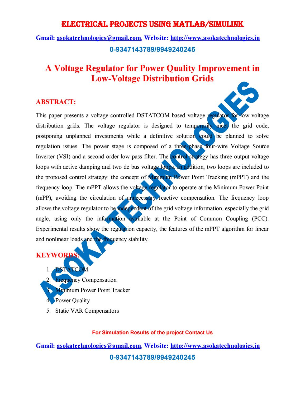 A voltage regulator for power quality improvement in low voltage