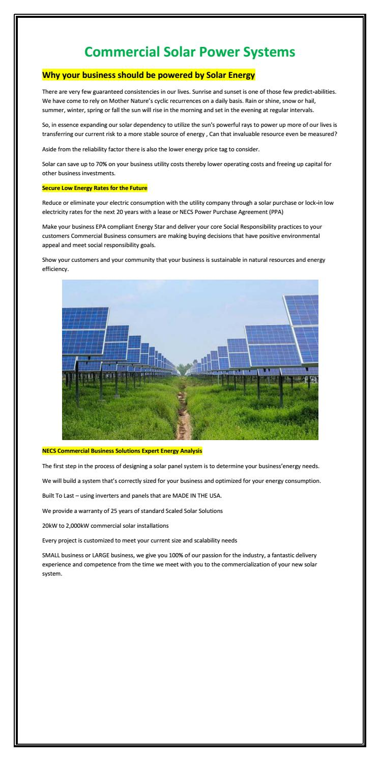 Commercial Solar Power Systems By Necs Energy Issuu