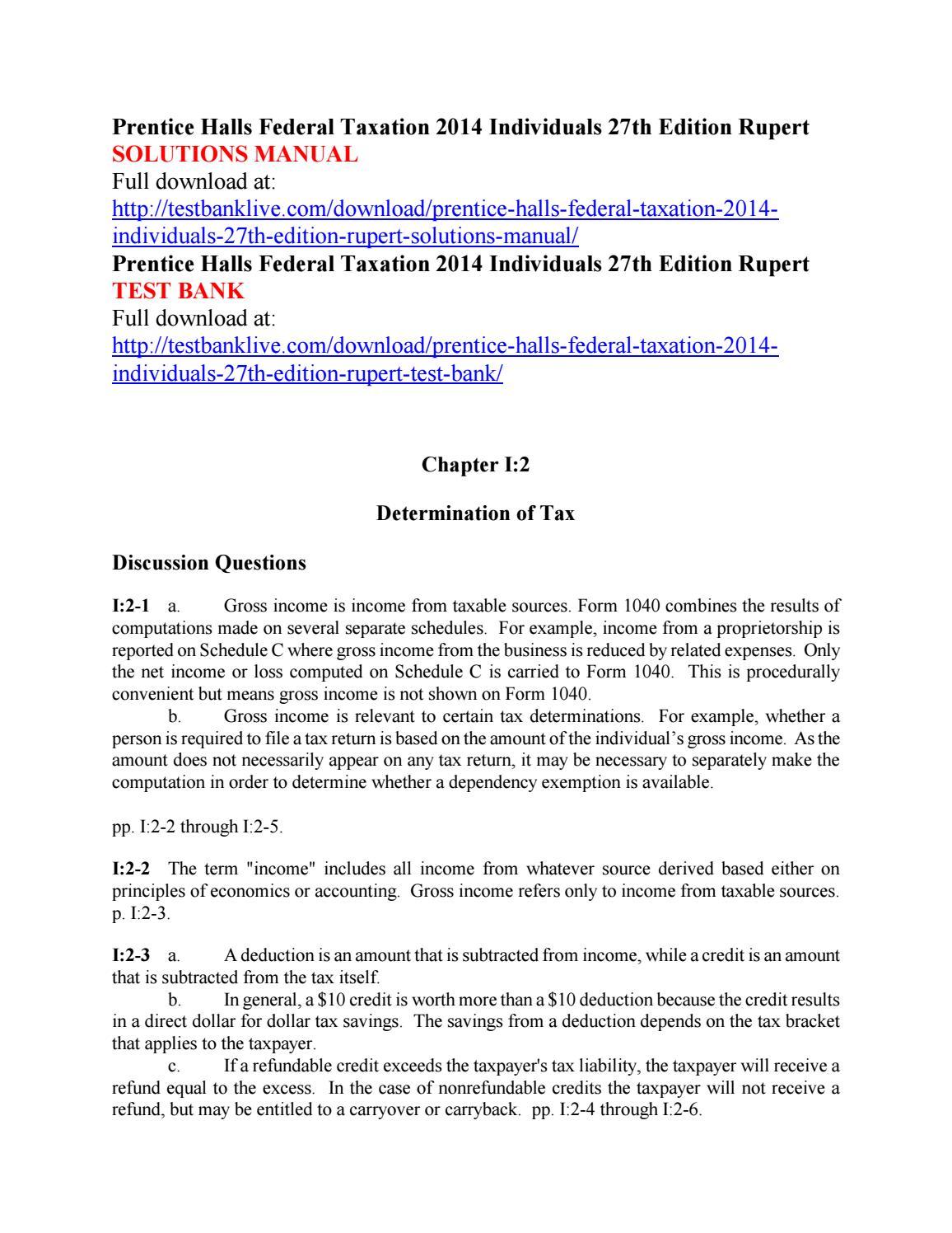 prentice halls federal taxation 2014 individuals 27th edition rupert rh issuu com