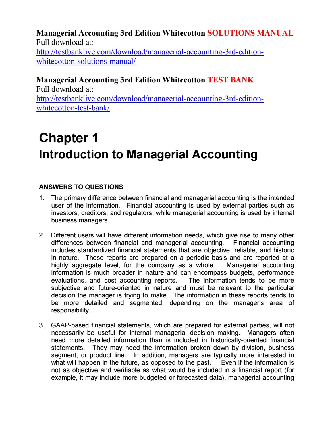 Managerial accounting 3rd edition whitecotton solutions manual by asdfgh111  - issuu