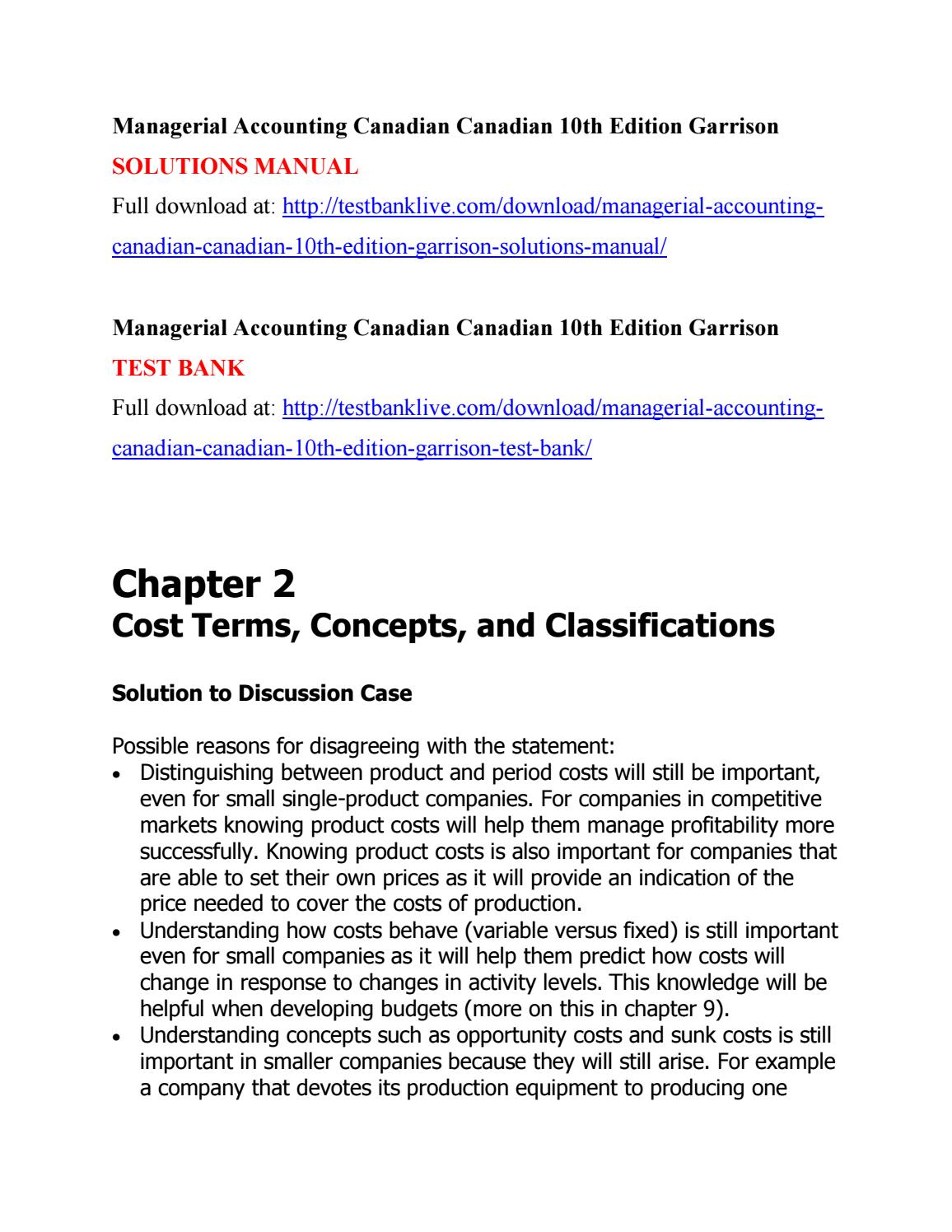 Managerial accounting canadian canadian 10th edition garrison solutions  manual by lmlm111 - issuu