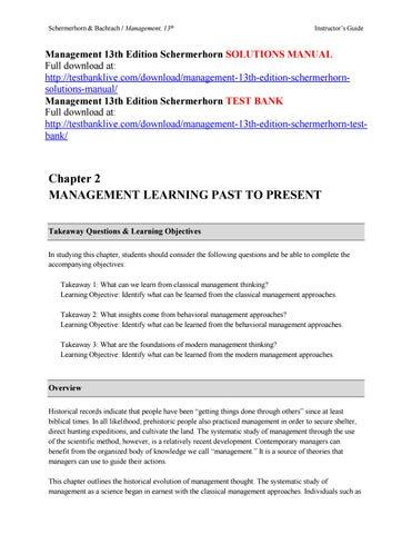 Management 13th Edition Schermerhorn Solutions Manual By Asdfgh111 Issuu