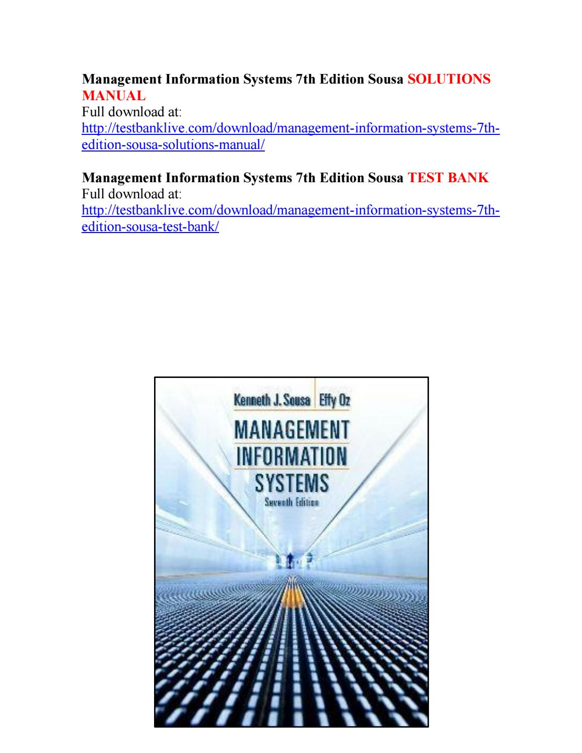 Management information systems 7th edition sousa solutions manual by  bach111 - issuu