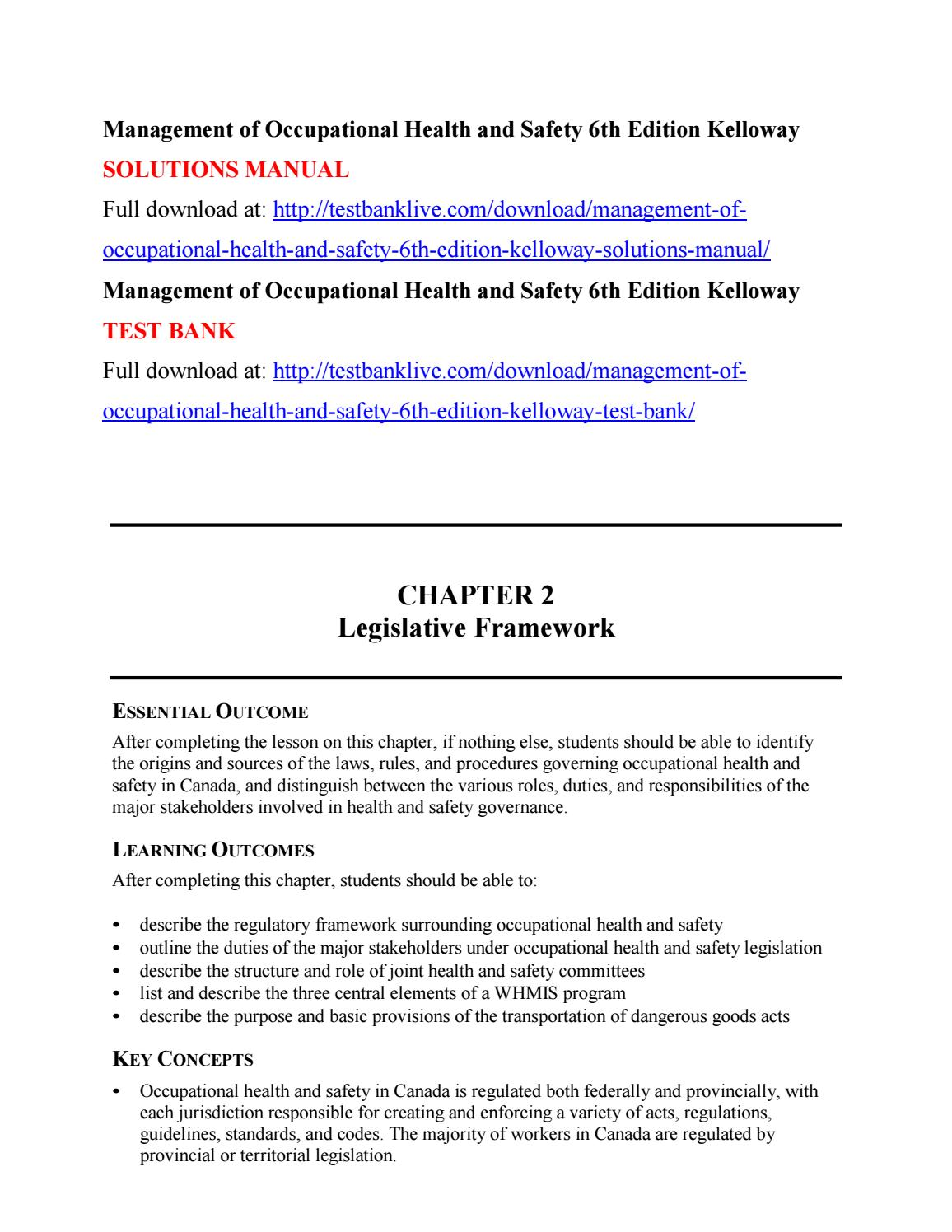 Management of occupational health and safety 6th edition kelloway solutions  manual by zaza111 - issuu