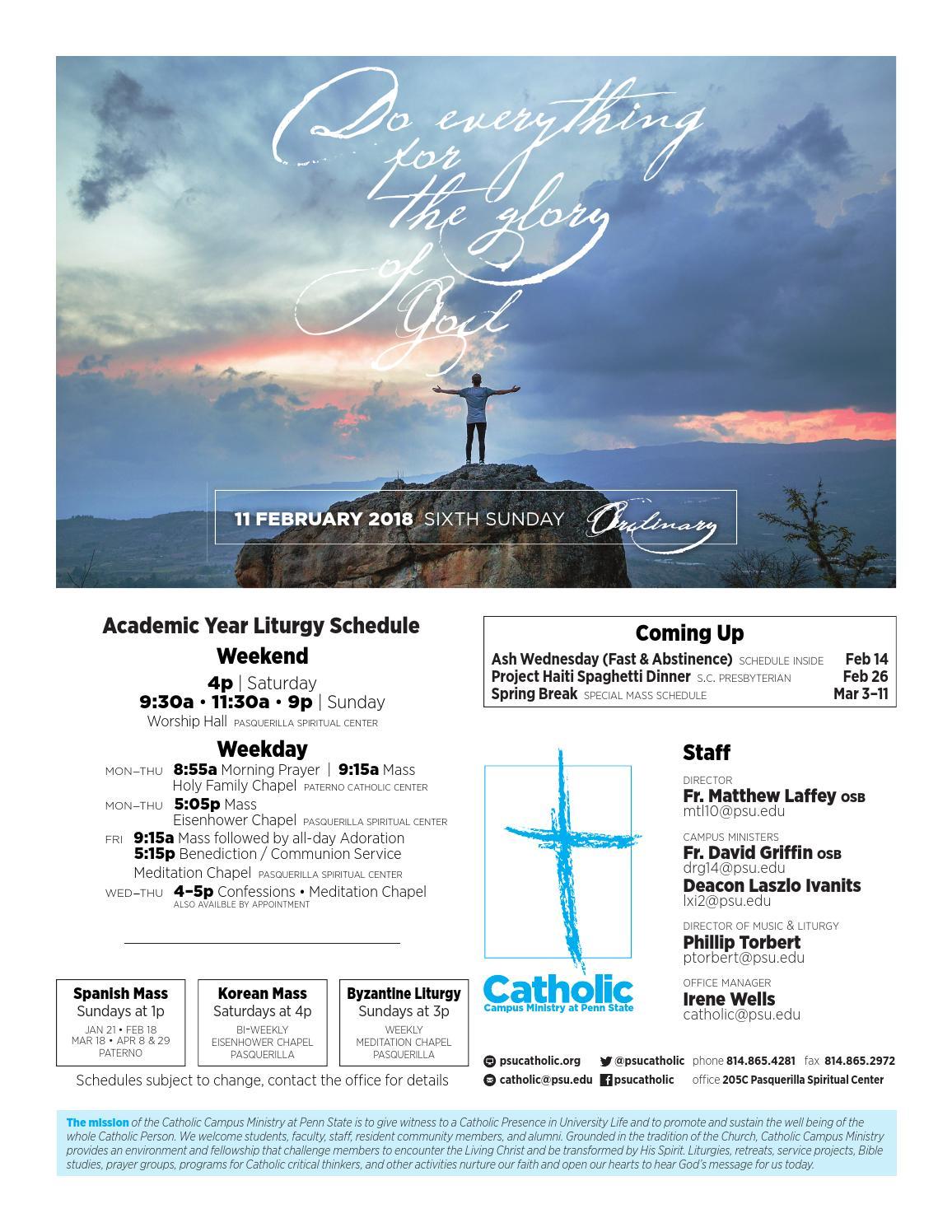 Bulletin for 11 February (Sixth Sunday / Ordinary Time) by Penn