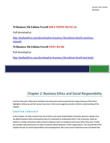M business 5th edition ferrell solutions manual by akina342 issuu page 1 fandeluxe Gallery