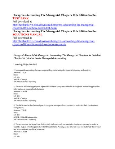 Horngrens accounting the managerial chapters 10th edition nobles horngrens accounting the managerial chapters 10th edition nobles test bank full download at fandeluxe Choice Image