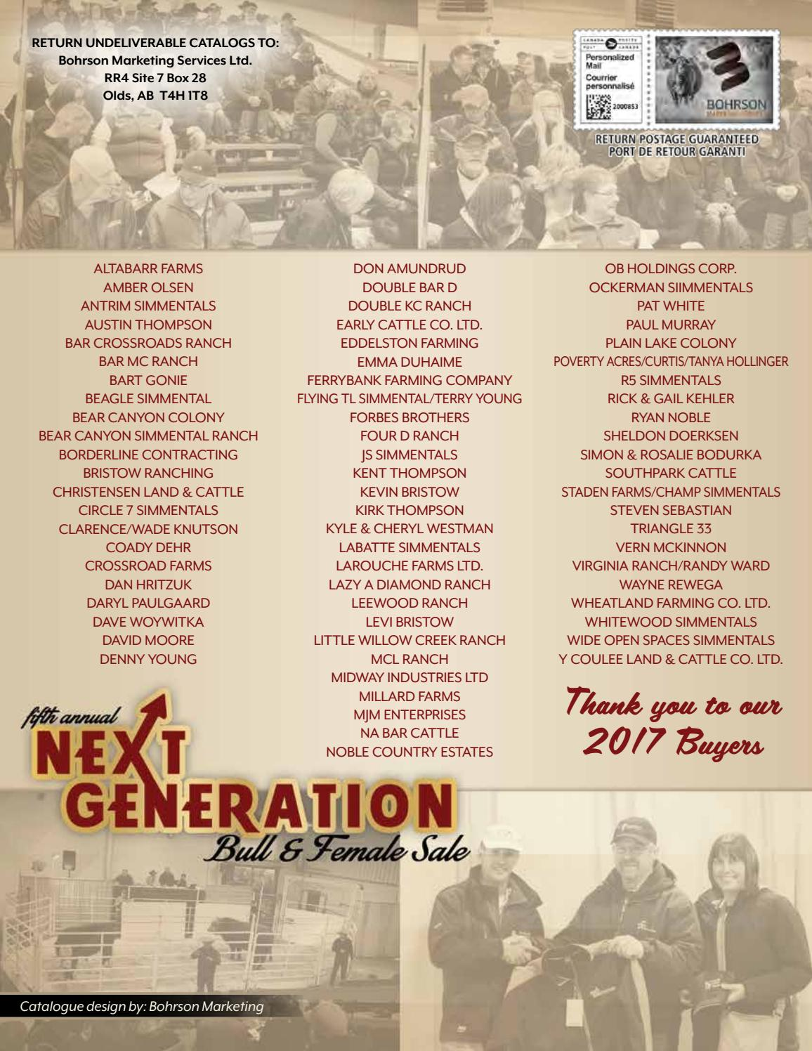 5th Annual Next Generation Bull & Female Sale by Today's Publishing