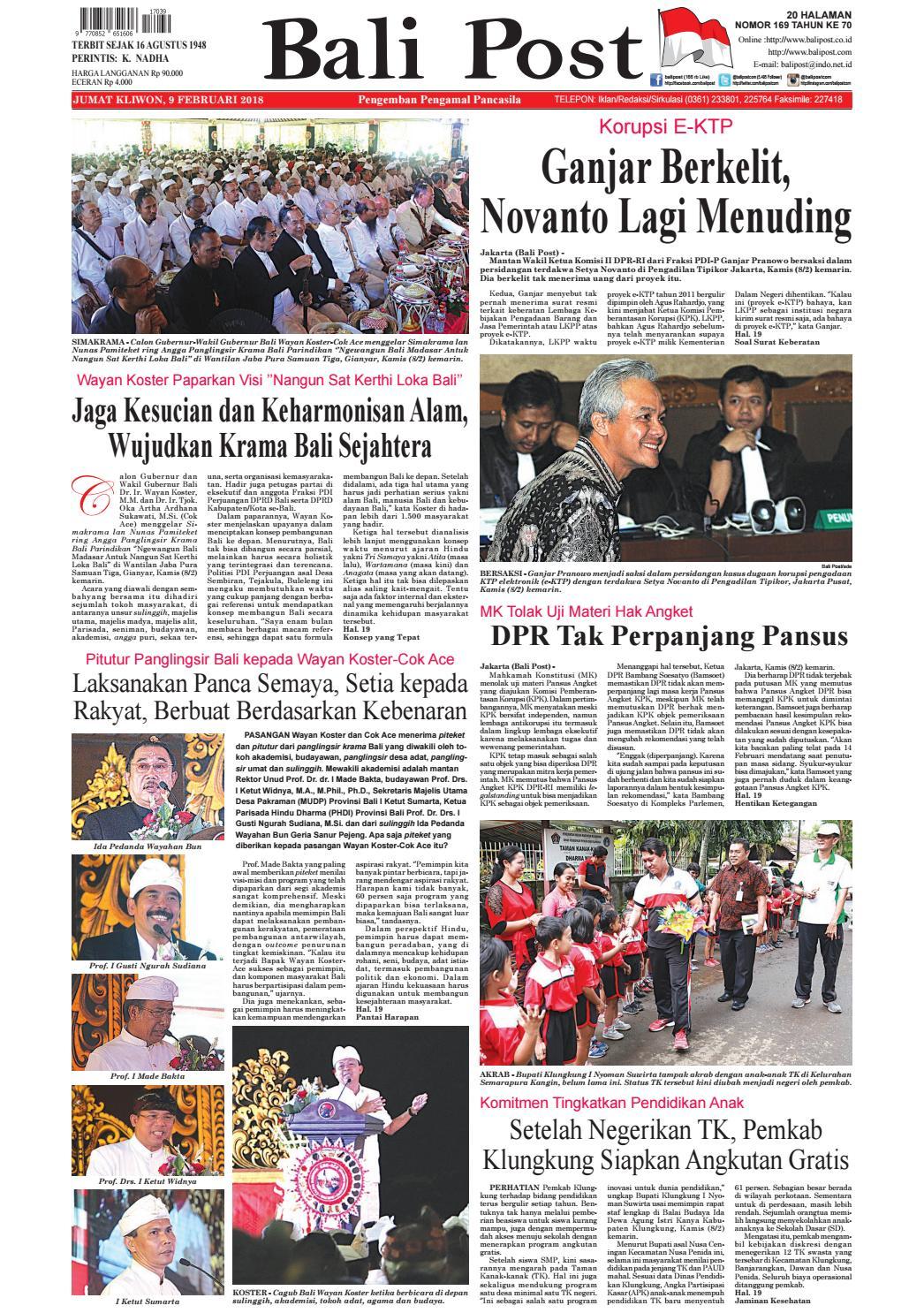 Edisi 9 Februari 2018 | Balipost com