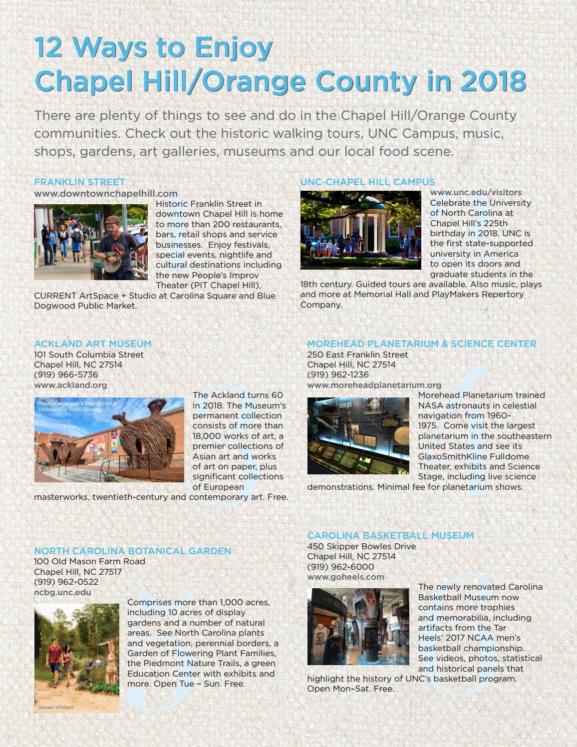 12 Ways to Enjoy Chapel Hill/Orange County, NC by Chapel