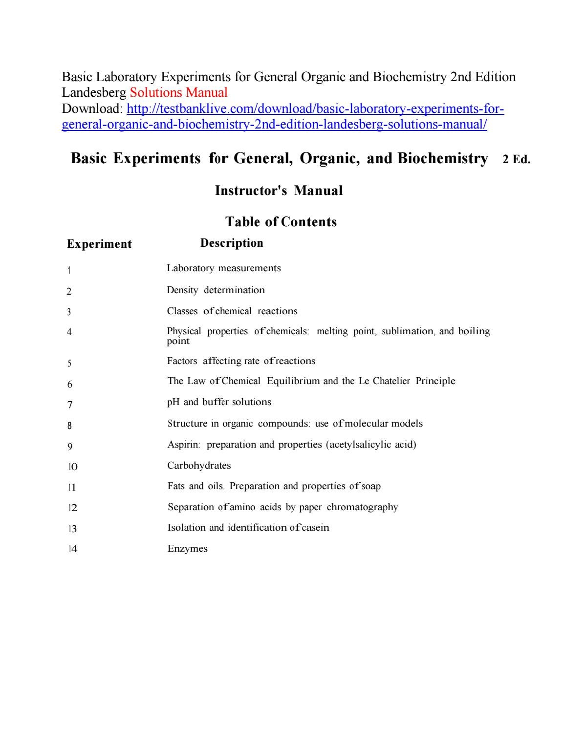 Basic laboratory experiments for general organic and biochemistry 2nd  edition landesberg solutions m by vzzz - issuu