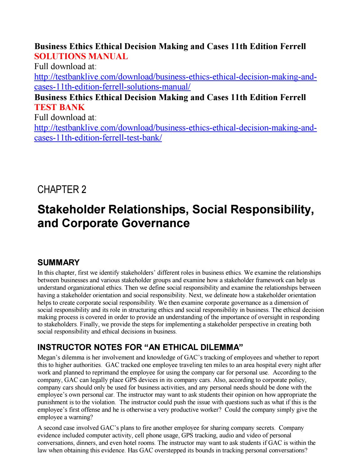 Business ethics ethical decision making and cases 11th