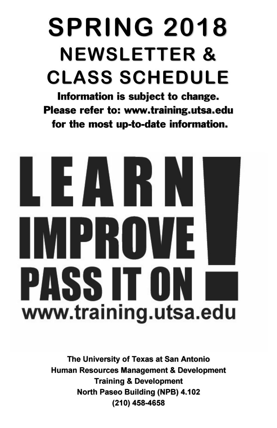 UTSA Training And Development Spring 2018 Newsletter And Class Schedule By  UTSA   The University Of Texas At San Antonio   Issuu