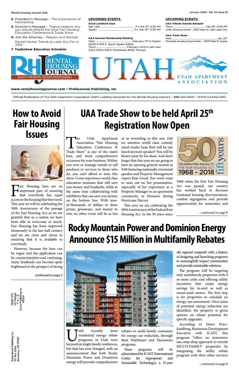 Rental Housing Journal Utah January 2018 by Professional