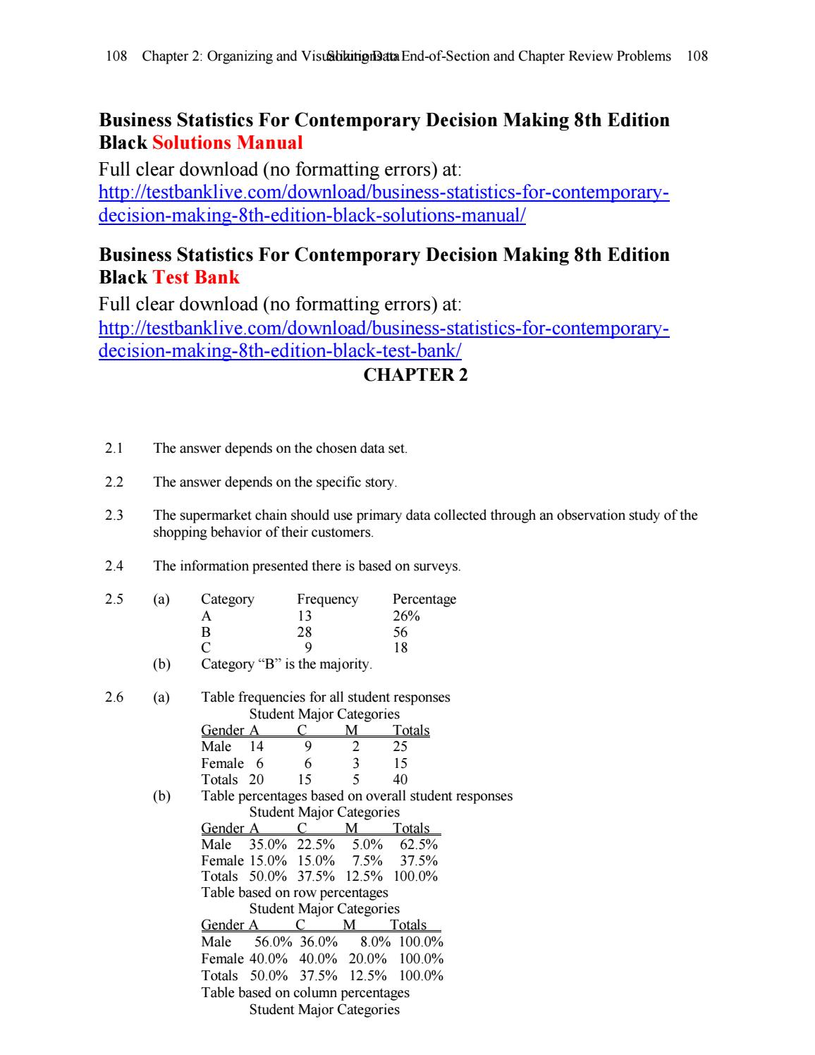 Business statistics for contemporary decision making 8th edition black solutions  manual by Dzzz - issuu