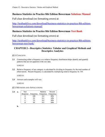 business statistics in practice 8th edition bowerman solutions rh issuu com business statistics in practice 6th edition solutions manual pdf Business Statistics in Paper