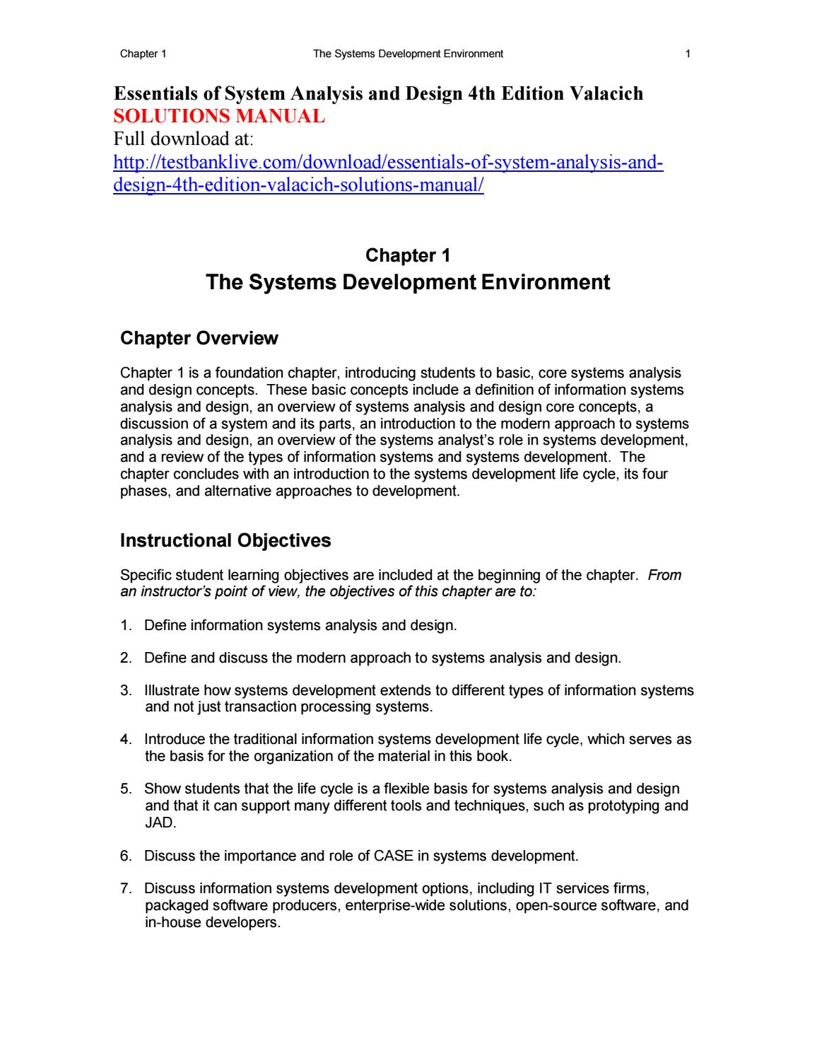 Essentials Of System Analysis And Design 4th Edition Valacich Solutions Manual By Zszs111 Issuu