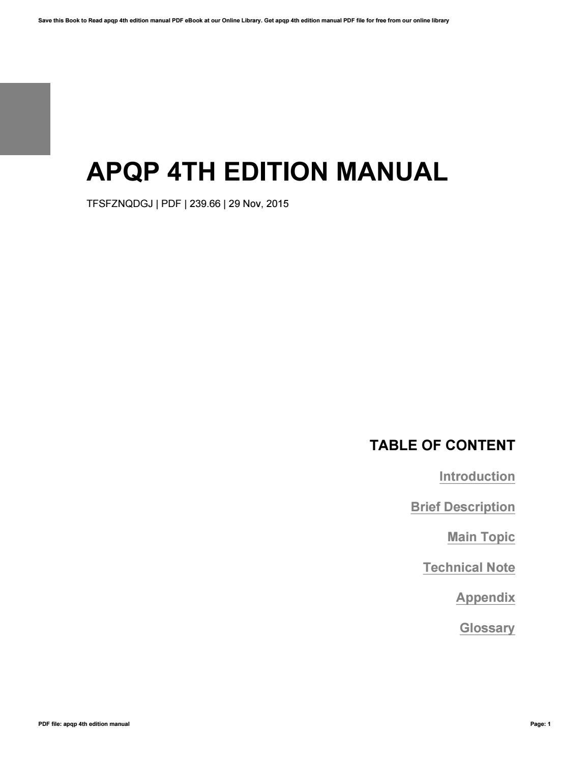 Download free aiag apqp manual 4th edition allstarfreeware.