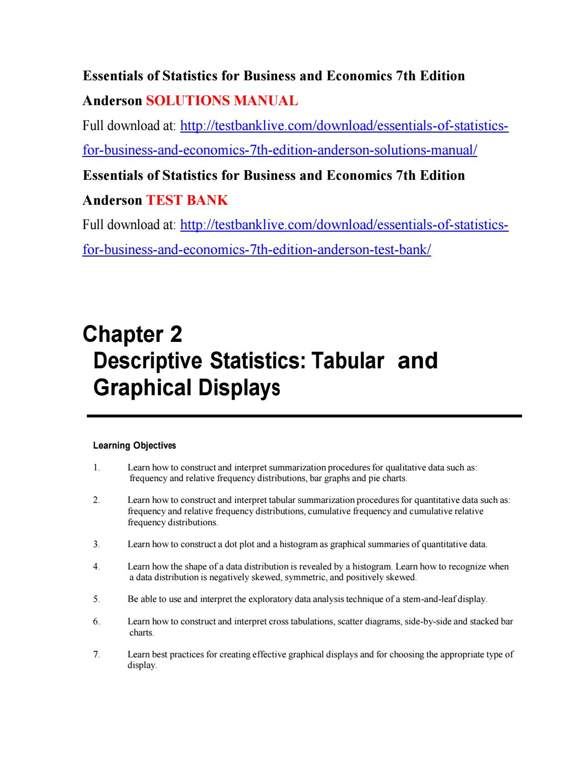 Essentials of statistics for business and economics 7th edition anderson  solutions manual by zdzd111 - issuu