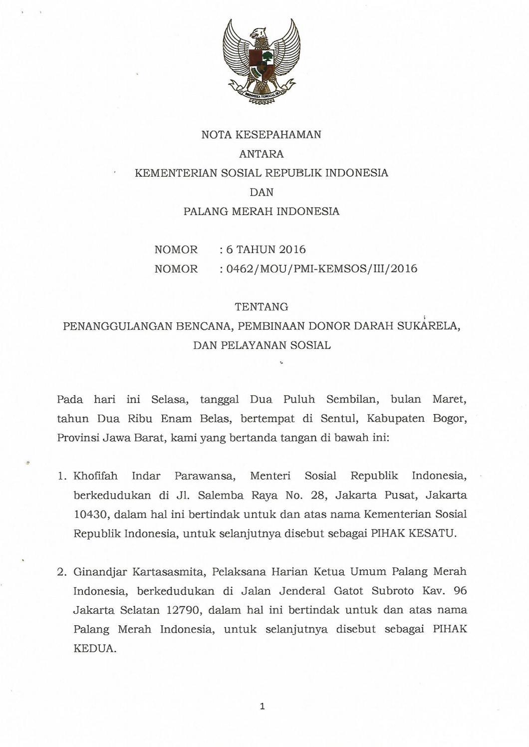Mou Pmi Kemensos By Palang Merah Indonesia Issuu