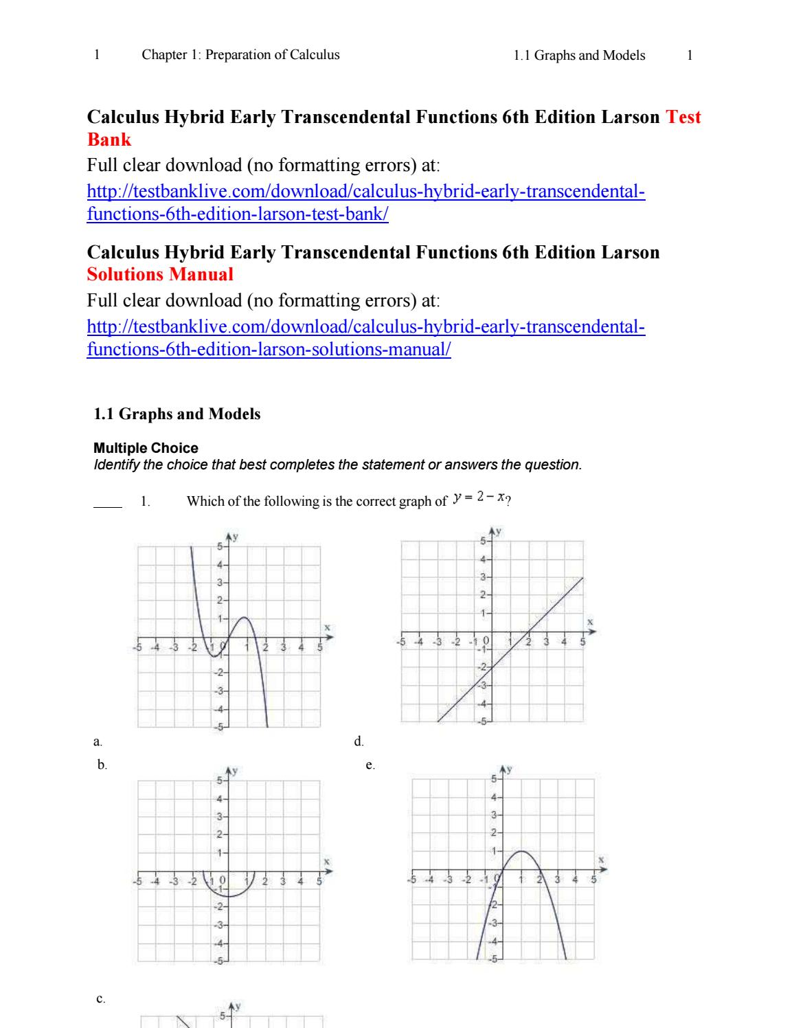 Calculus hybrid early transcendental functions 6th edition larson test bank  by FGzz - issuu