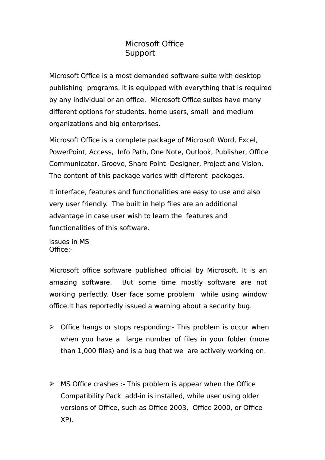 Microsoft office support by Outlook PhoneNumber - issuu
