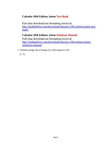 calculus anton 10th edition solution manual pdf