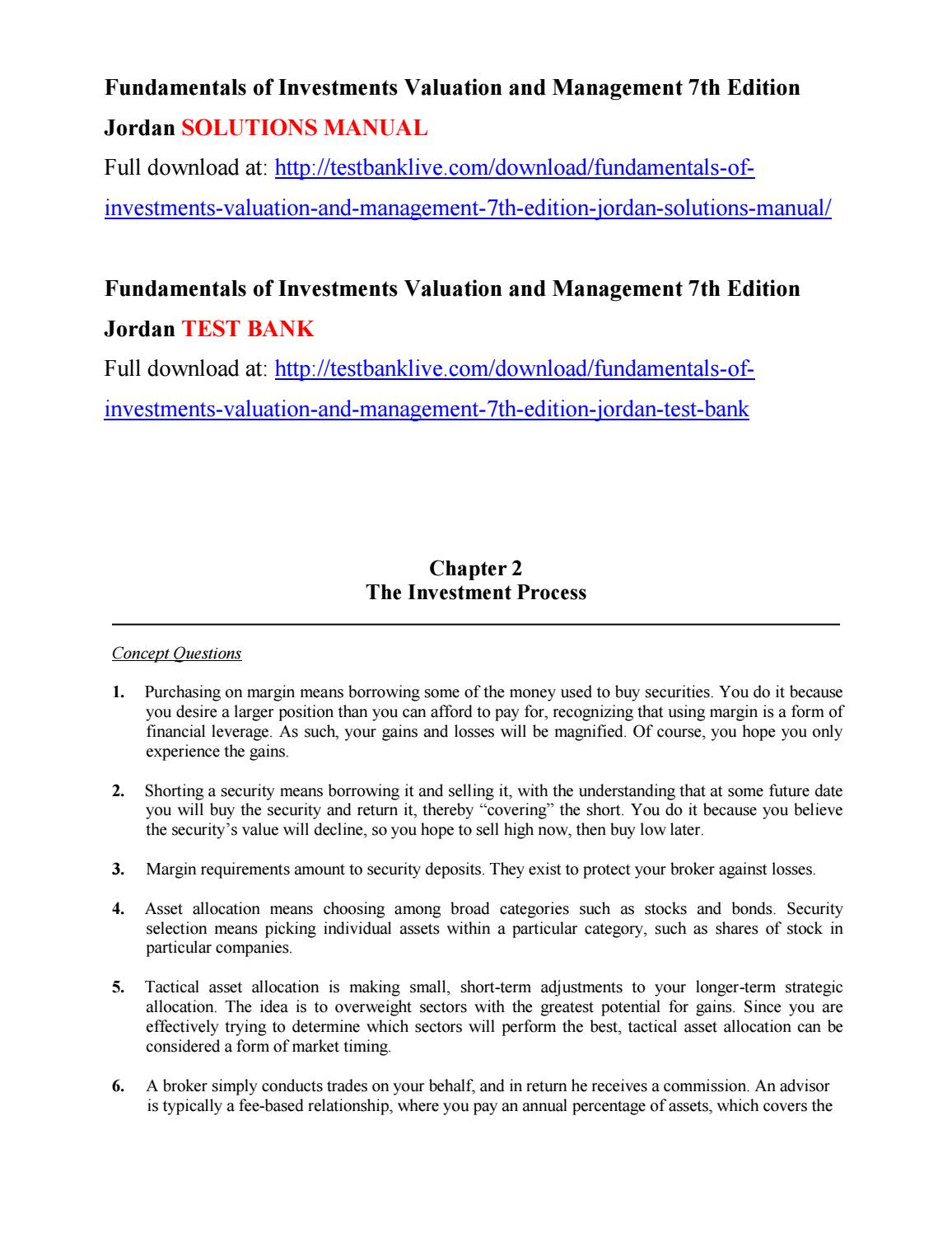 Fundamentals of investments valuation and management 7th edition jordan solutions  manual by glubya - issuu