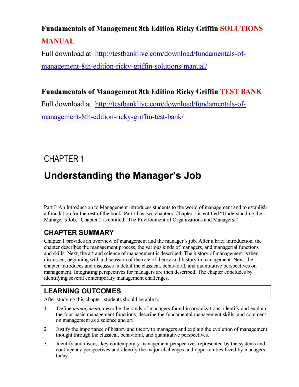 Fundamentals of management 8th edition ricky griffin solutions manual by  glubya - issuu