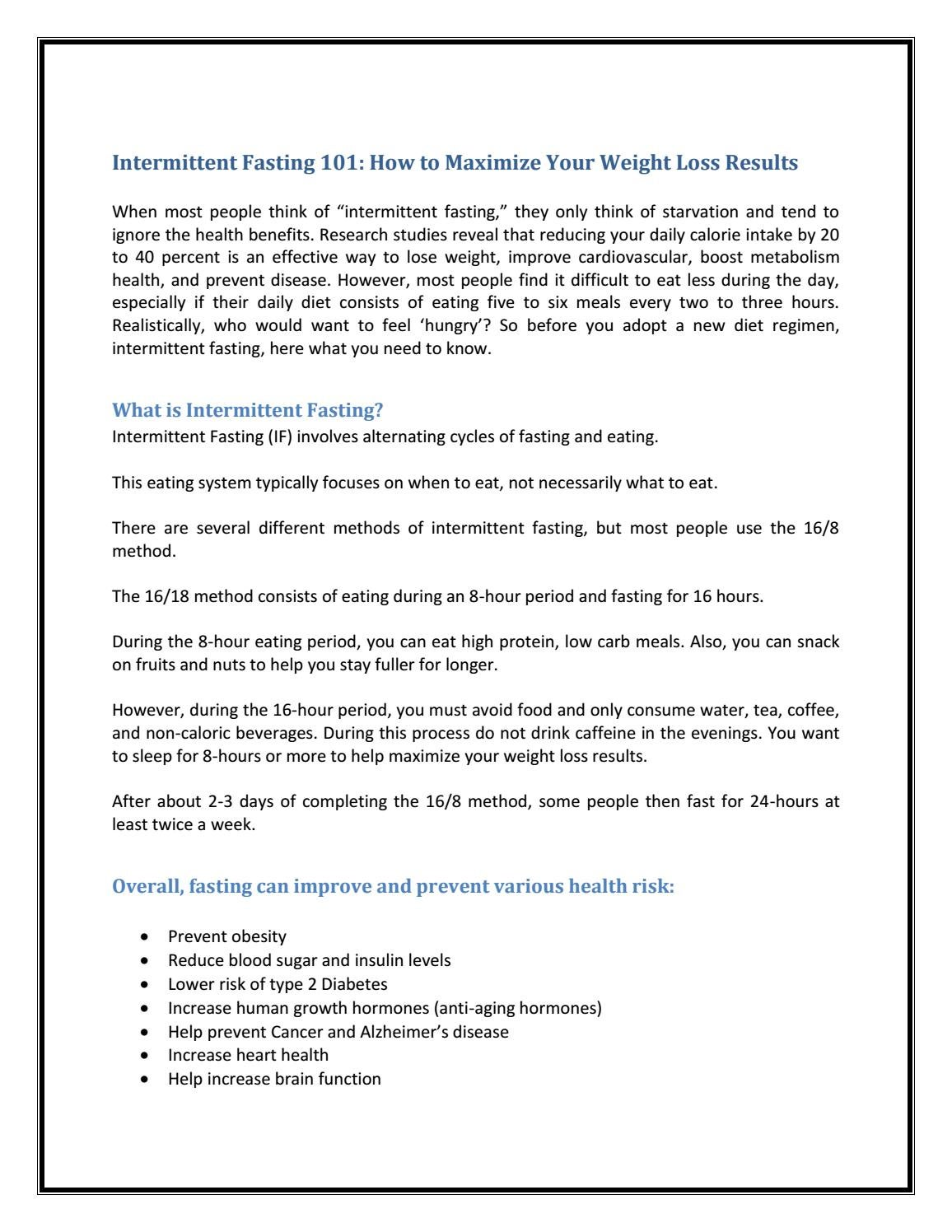 Intermittent Fasting 101: How to Maximize Your Weight Loss Results