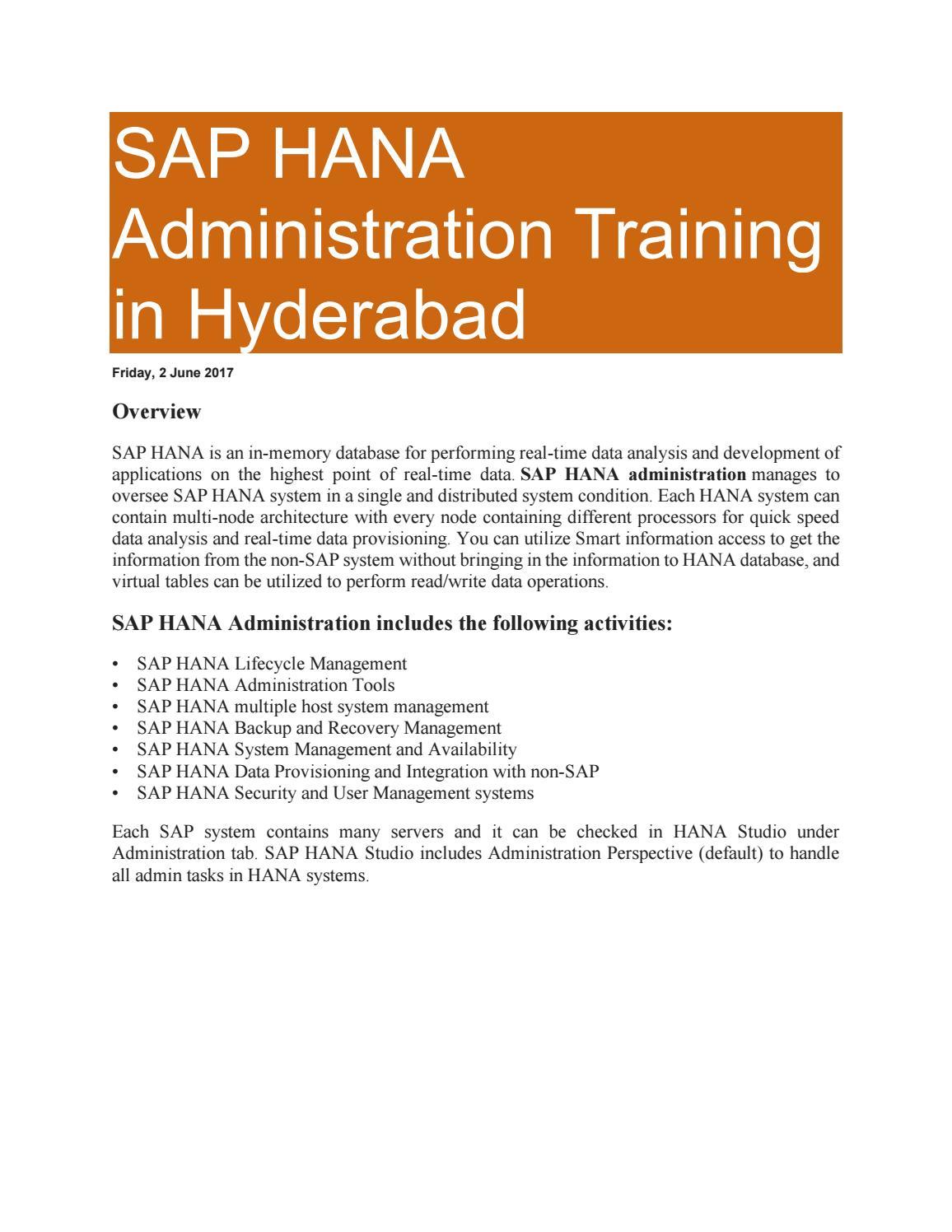 SAP HANA Training Material | SAP HANA Admin pdf by arpana allentics