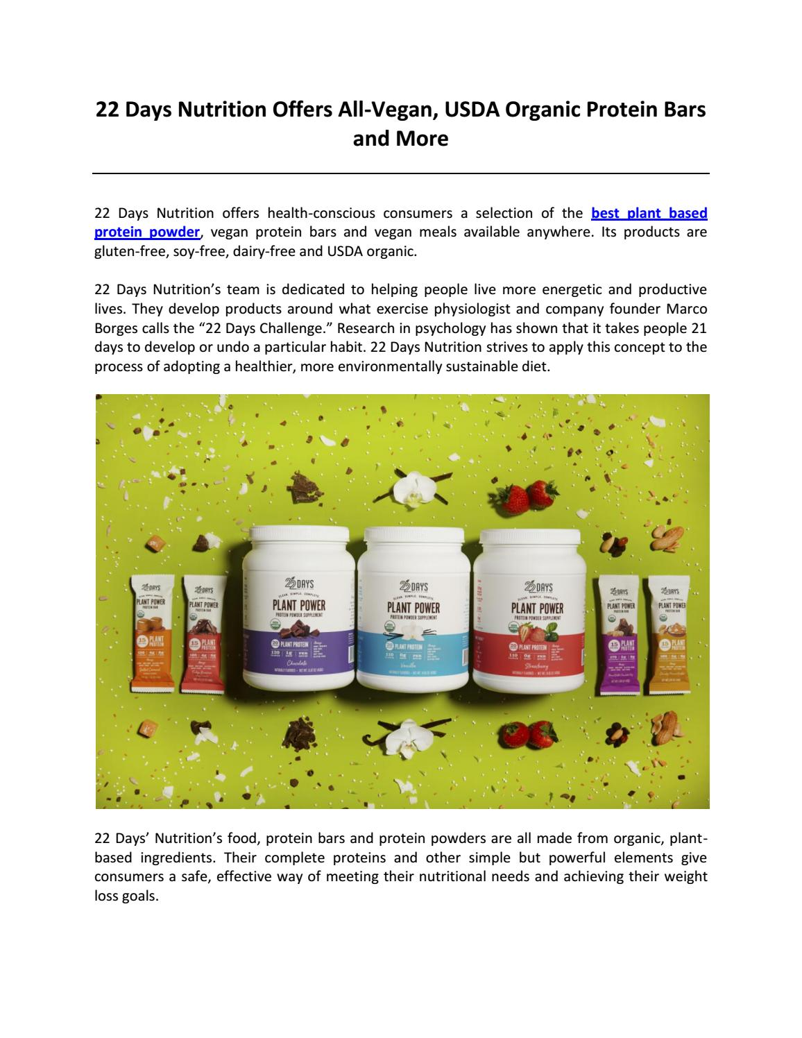 22 Days Nutrition Offers All-Vegan, USDA Organic Protein Bars and More by 22  Days Nutrition - issuu