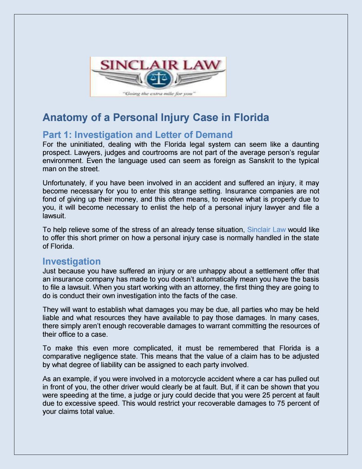 Anatomy of a personal injury case in florida by sinclairlaw080 - issuu