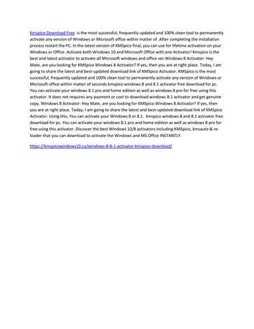 WINDOWS 8.1 TÉLÉCHARGER KMSPICO ACTIVER GRATUIT POUR