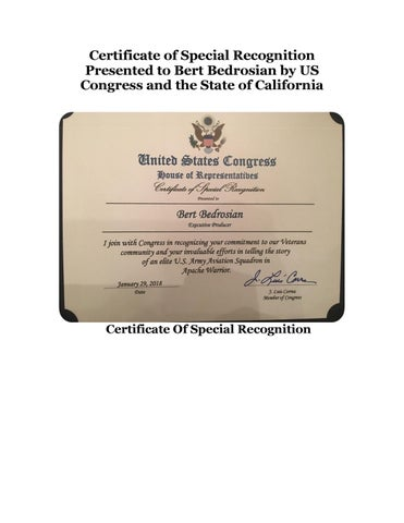 certificate of special recognition presented to bert bedrosian by us
