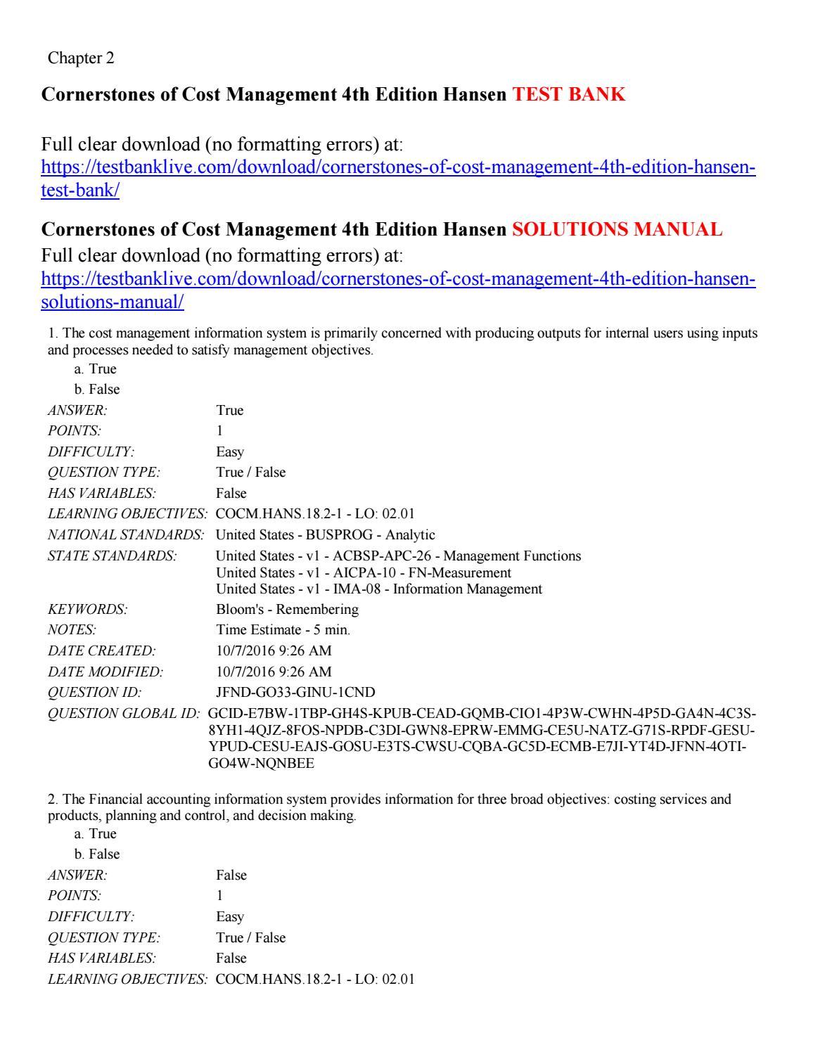 Cornerstones of cost management 4th edition hansen test bank by Hansen123 -  issuu