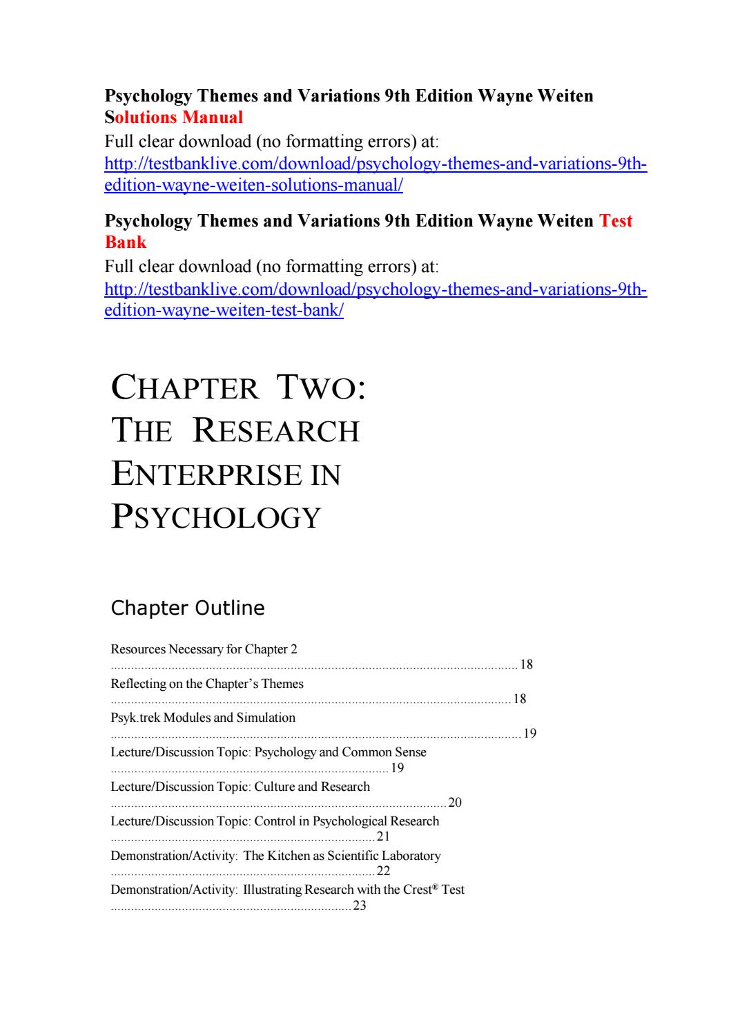 Psychology themes and variations 9th edition wayne weiten solutions manual  by Stair145 - issuu