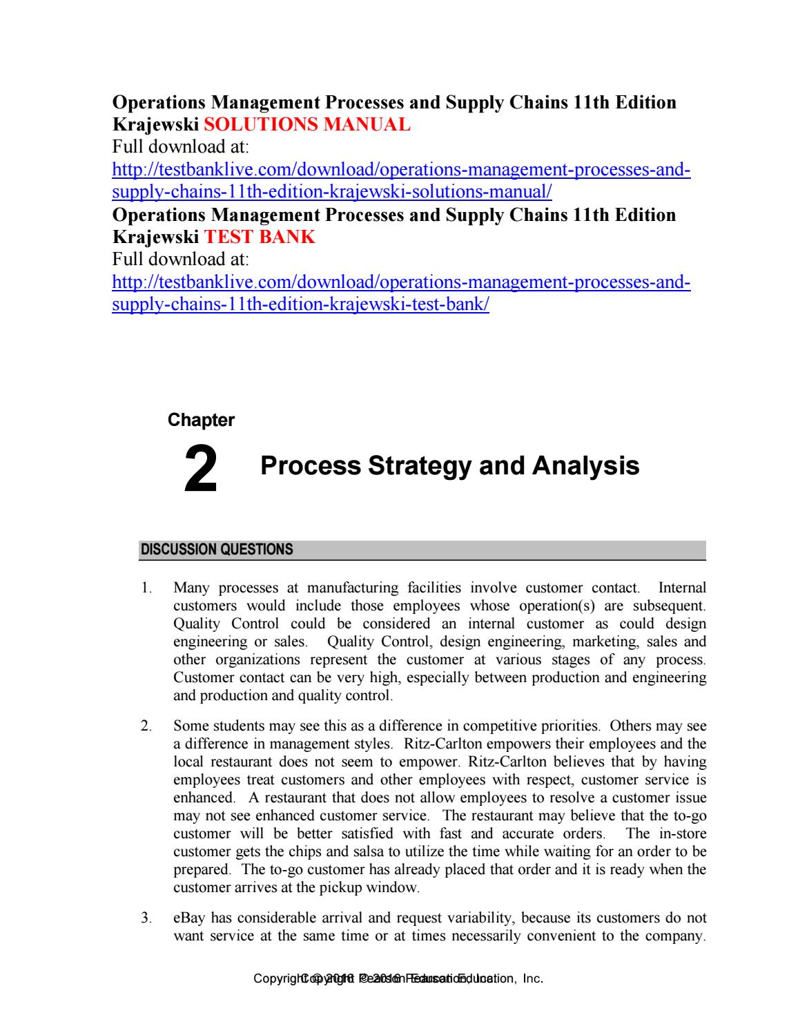 Operations management processes and supply chains 11th