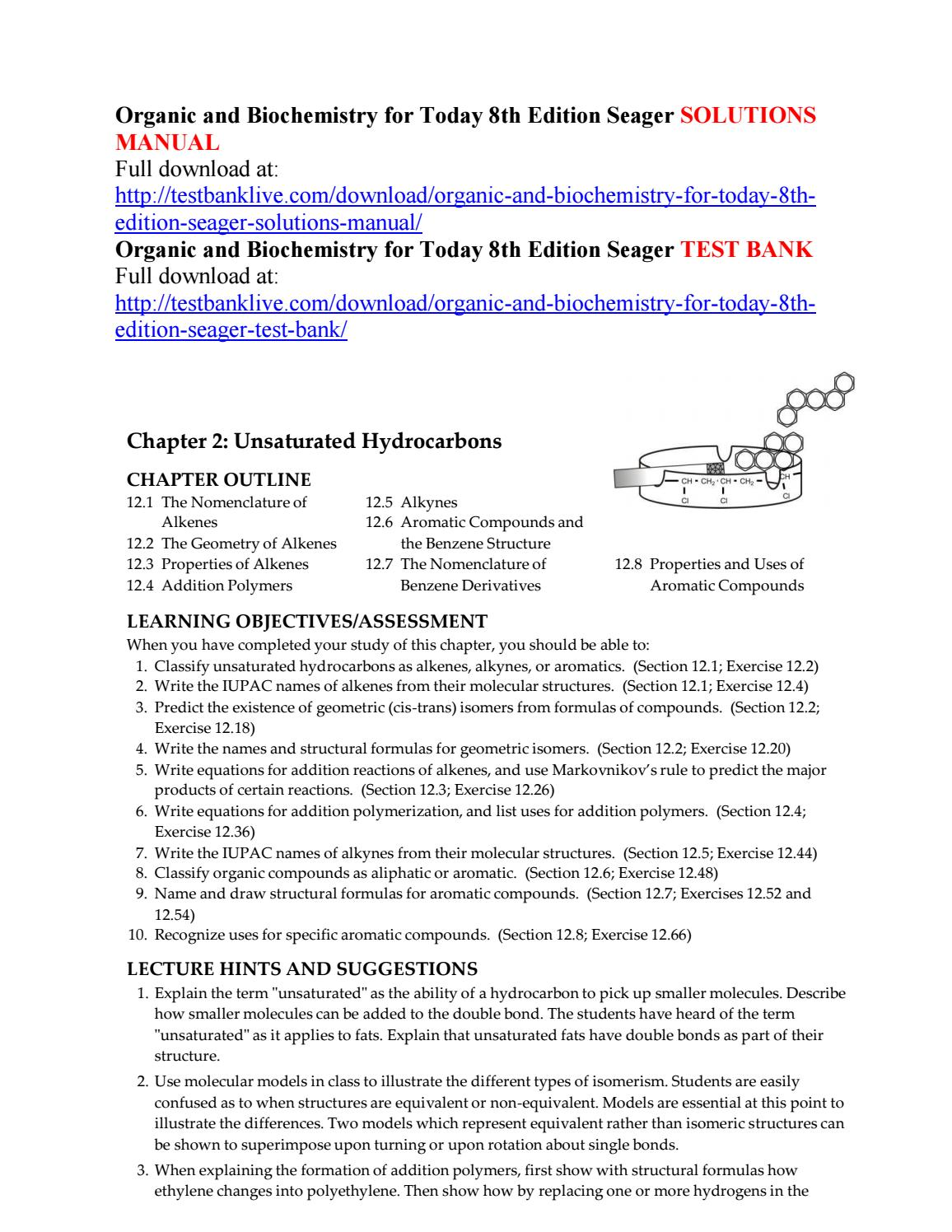 Organic and biochemistry for today 8th edition seager solutions manual by  Krajewski000 - issuu